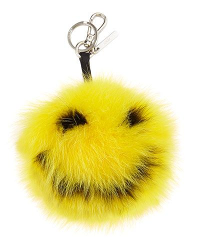 Fendi Smiley fur monster charm for bag avilable at NEIMAN MARCUS
