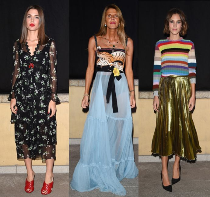 * Charlotte Casiraghi, Anna dello Russo and Alexa chung debuting the collection for a dinner hosted by François Henry-Pinault in honor of Alessandro Michele during Milan Fashion Week Spring 2016