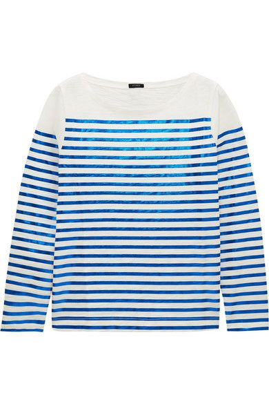 J.Crew shimmering metallic blue striped cotton-jersey top available at NET-A-PORTER