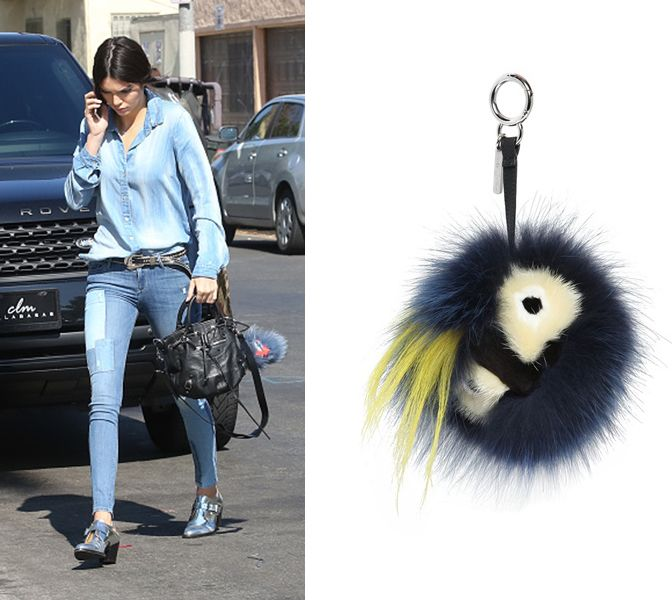 2- Kendall's Fendi Monster fur charm for bag available at LUISAVIAROMA.com