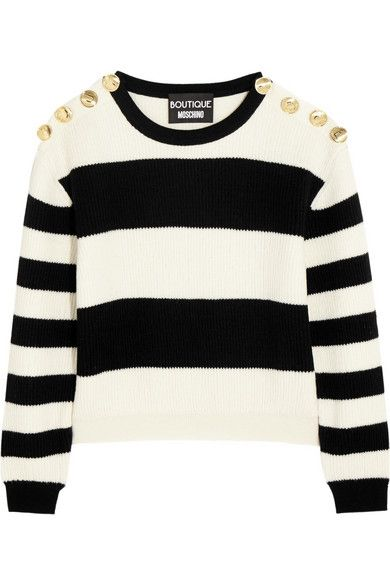 Moschino cropped striped ribbed wool sweater avilabale at NET-A-PORTER