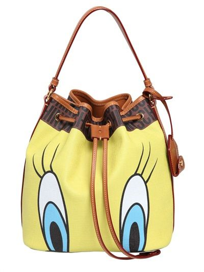 LAIA'S PICK: Moschino Looney Tunes faux leather bucket bag available at LUISAVIAROMA.com