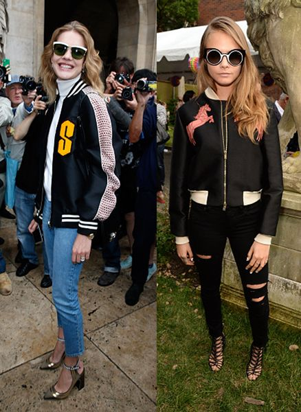 Natalia Vodianova and Cara Delevingne wearing Stella McCartney's bomber jackets