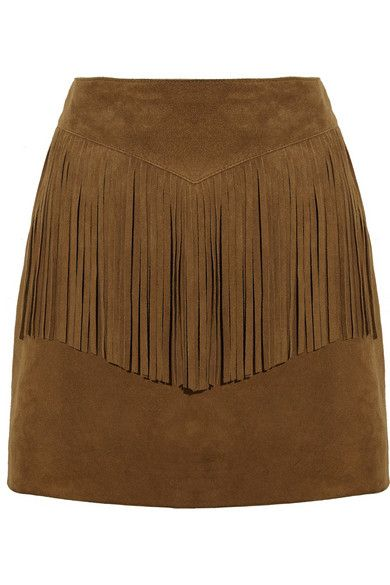 Saint Laurent fringed suede mini skirt available at NET-A-PORTER