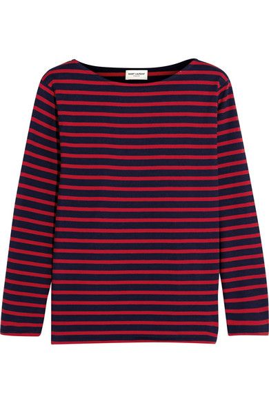 Saint Laurent navy and red stripes top available at NET-A-PORTER