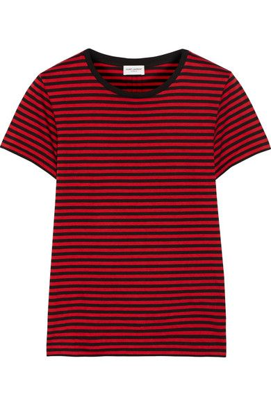Saint Laurent red and black cotton-jersey T-shirt available at NET-A-PORTER
