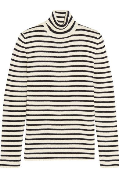 Saint Laurent striped cotton and wool-blend sweater available at NET-A-PORTER