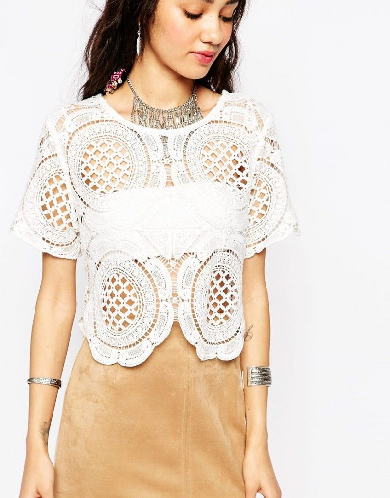 Tiger Mist Petite tapestry lace top available at ASOS