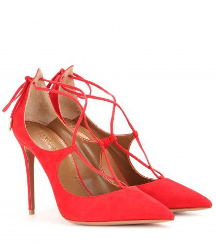 Or: Aquazzura Christy red suede pumps available at MYTHERESA.com
