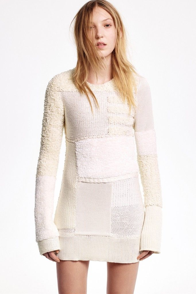 Patchwork knitted ivory silk dress available at NET-A-PORTER