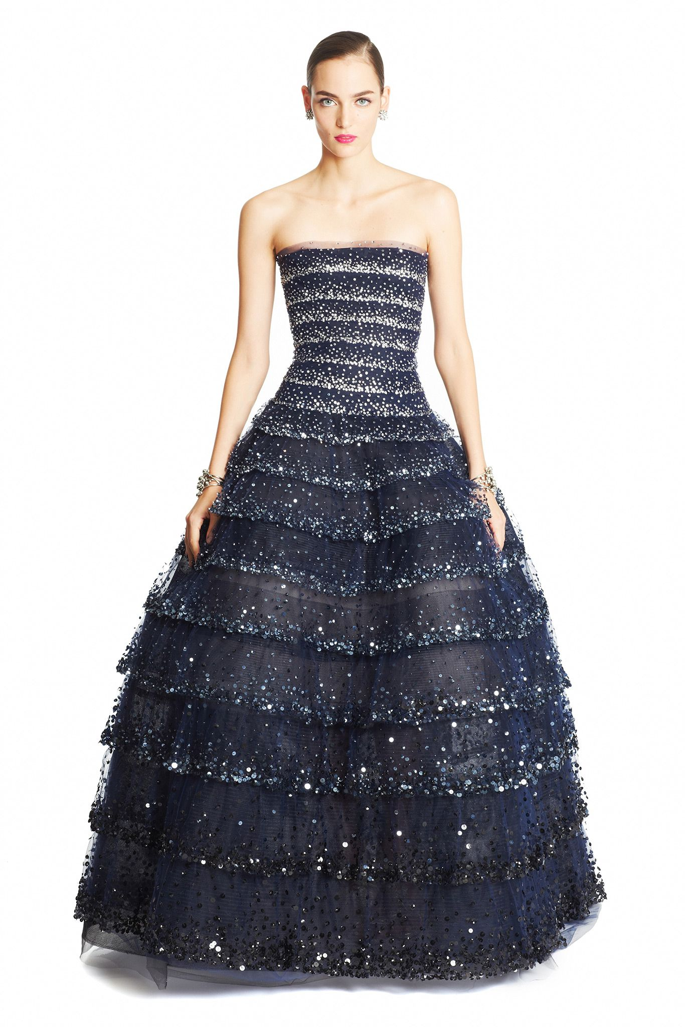 This Oscar De La Renta Sequin Embellished Navy Tulle Gown Worn By