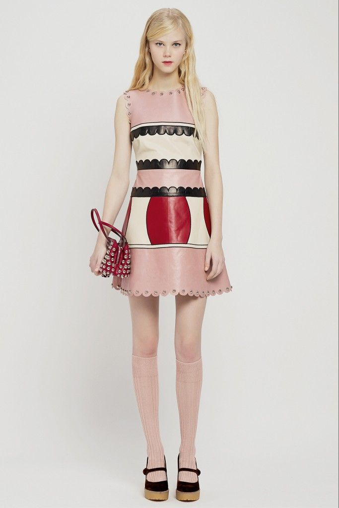 LOOK 2: Red Valentino Pre-Fall 2015 color-block fir and flare leather mini dress