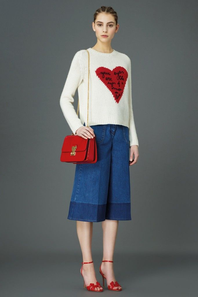 Get these Valentino Pre-Fall 2015 two-tone denim culottes available at NET-A-PORTER