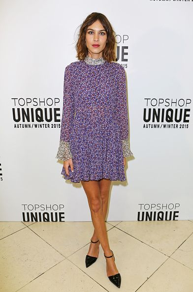 Alexa Chung attends the Topshop Unique show during London Fashion Week Fall/Winter 2015/16 at Tate Britain on February 22, 2015 in London, England.