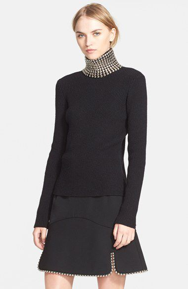 Alexander Wang studded turtleneck ribbed silk and cashmere sweater from it Fall Winter 2015 collection, available at NORDSTROM.com