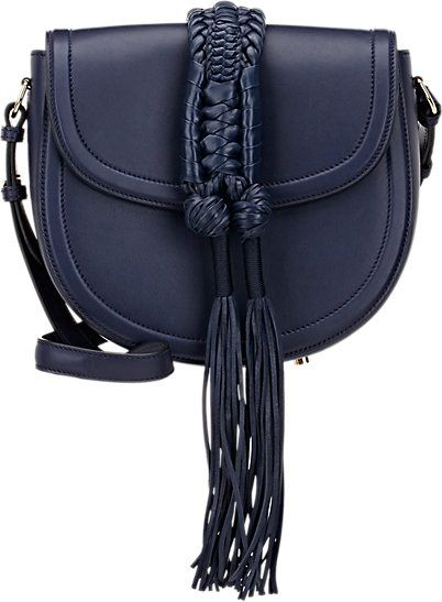 LAIA'S PICK: Ghianda knot small saddle bag in navy smooth leather available at BARNEY'S