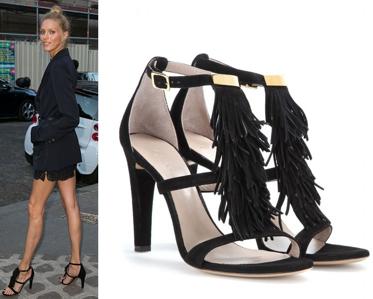 Anja is wearing Chloé black suede fringed strappy sandals available at MYTHERESA.com