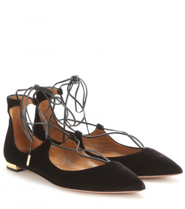 Aquazzura Christy flat velvet ballerinas available at MYTHERESA.com
