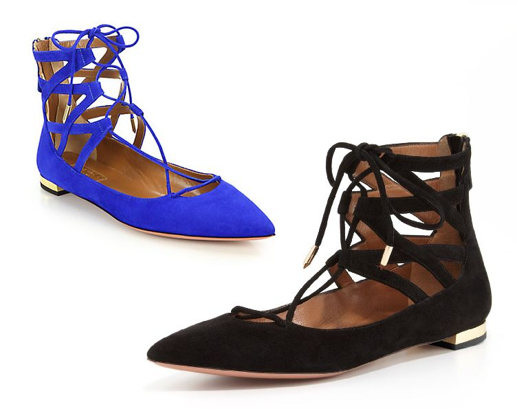 Aquazzura Belgravia blue suefe flats available at SAKS and Shopbop.com