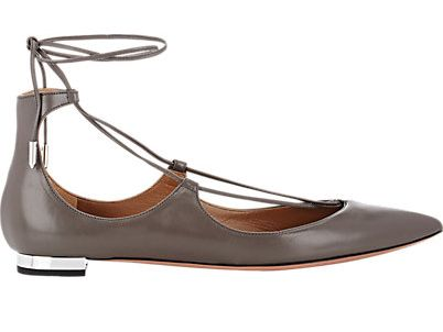 Aquazzura Christy asphalt smooth leather lace-up flats available at BARNEY'S