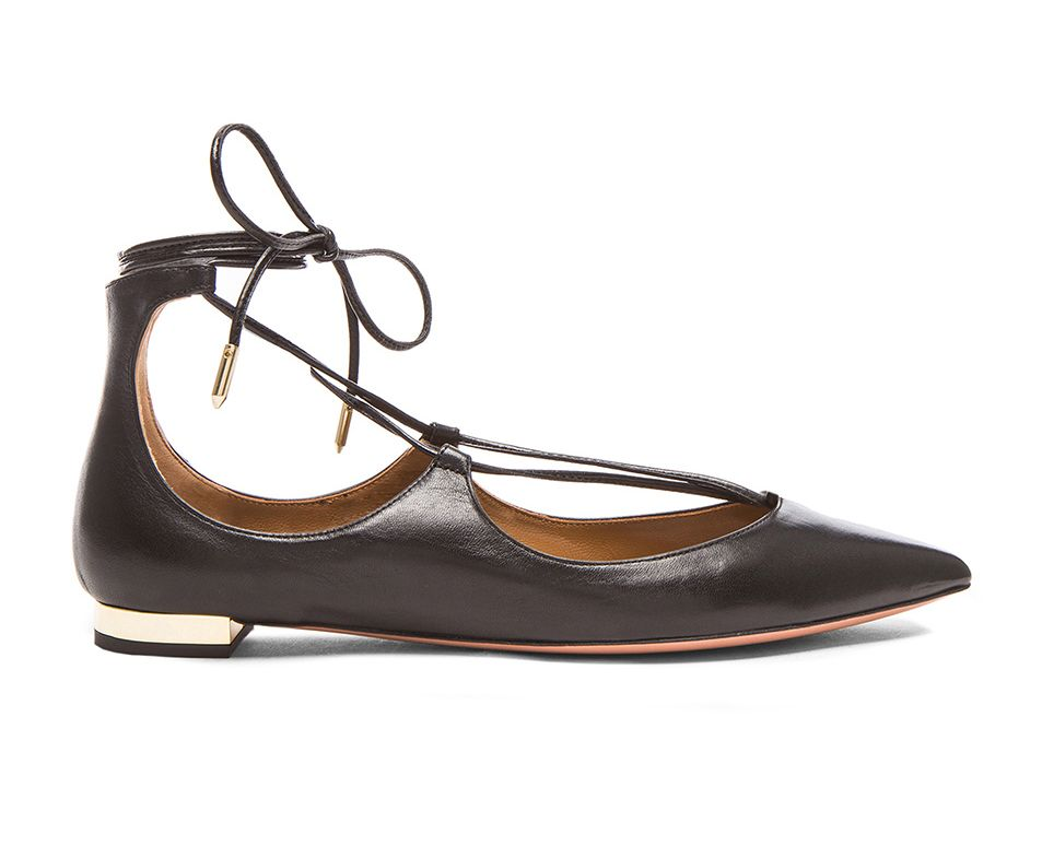 Black nappa leather Christy ballerina flats available at FORWARD BY ELYSE WALKER