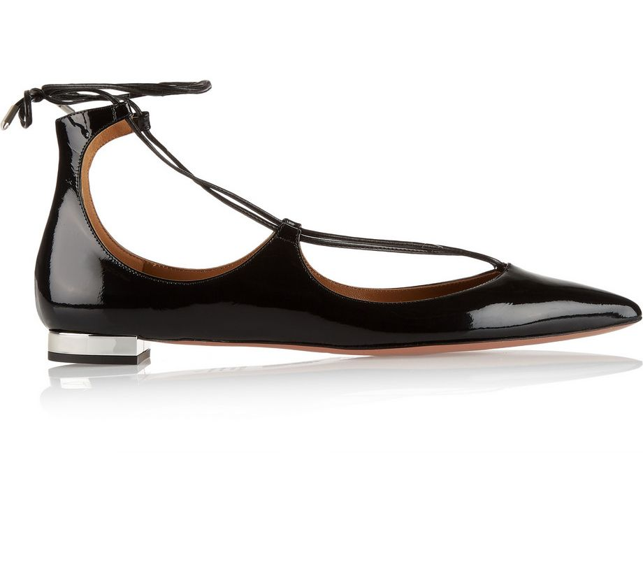 Aquazzura Christy black patent-leather point-toe flats available at NET-A-PORTER