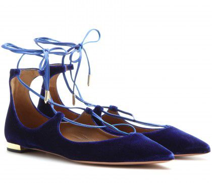 LAIA'S PICK: Aquazzura Christy blue velvet ballerina flats exclusive to MYTHERESA.com