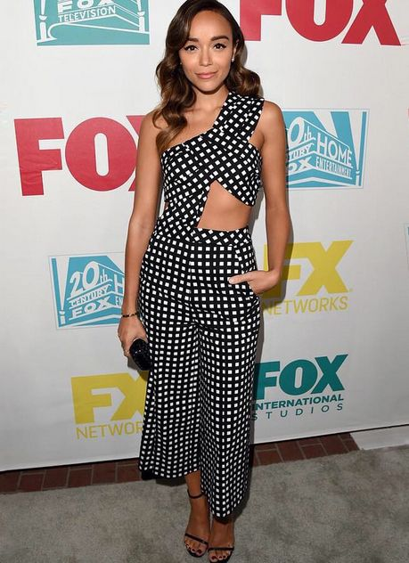 Ashley Madekwe's check culottes are available at SELFRIDGES.com and her cropped top is available at SELFRIDGES.com