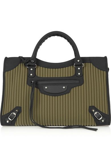 Balenciaga City medium leather-trimmed quilted cotton tote available at NET-A-PORTER
