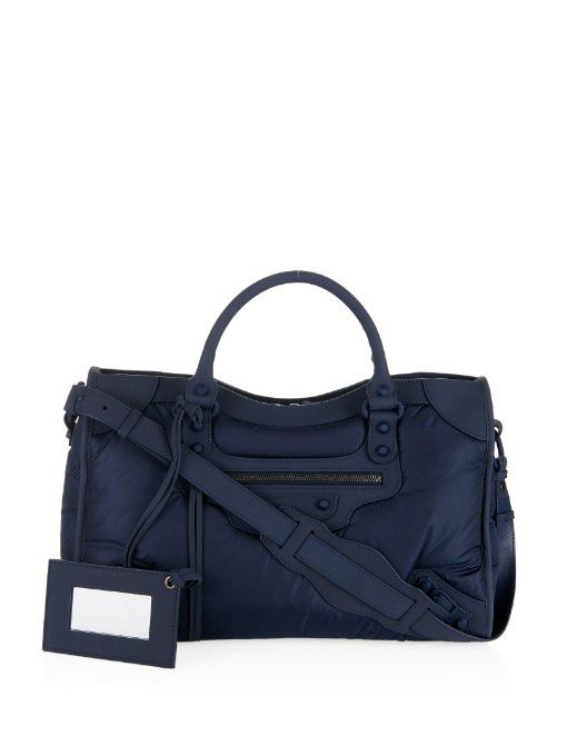 Balenciaga classic City matte-navy nylon bag available at MATCHESFASHION.com