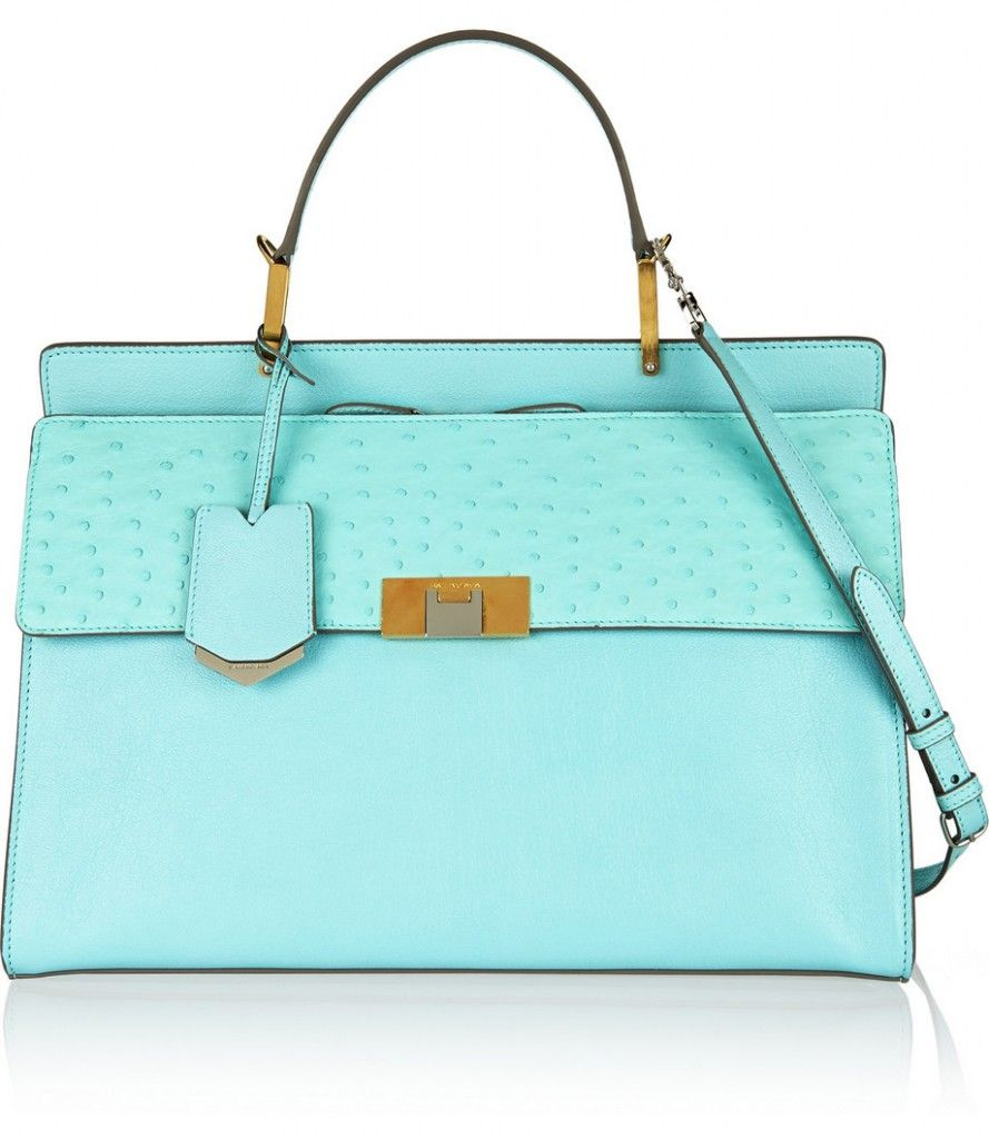 Balenciaga Le Dix Maldivas Blue ostrich and textured-leather shoulder bag available at NET-A-PORTER