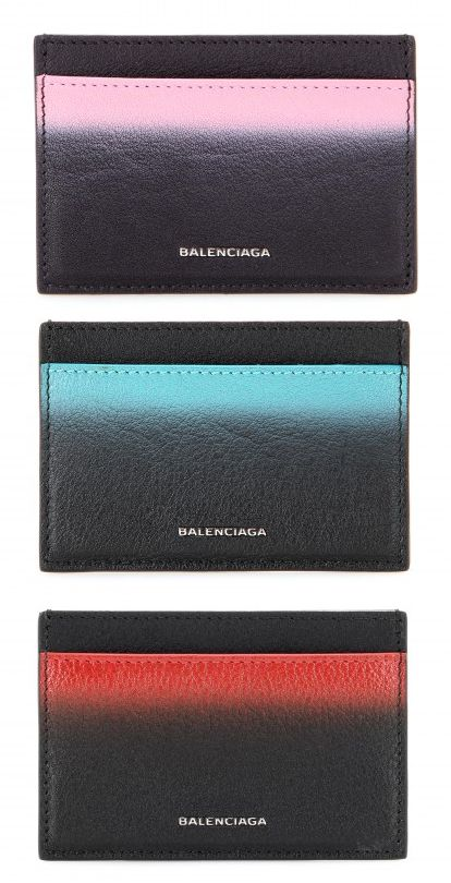 Leather card holder with pink painted stripe available at MYTHERESA.com