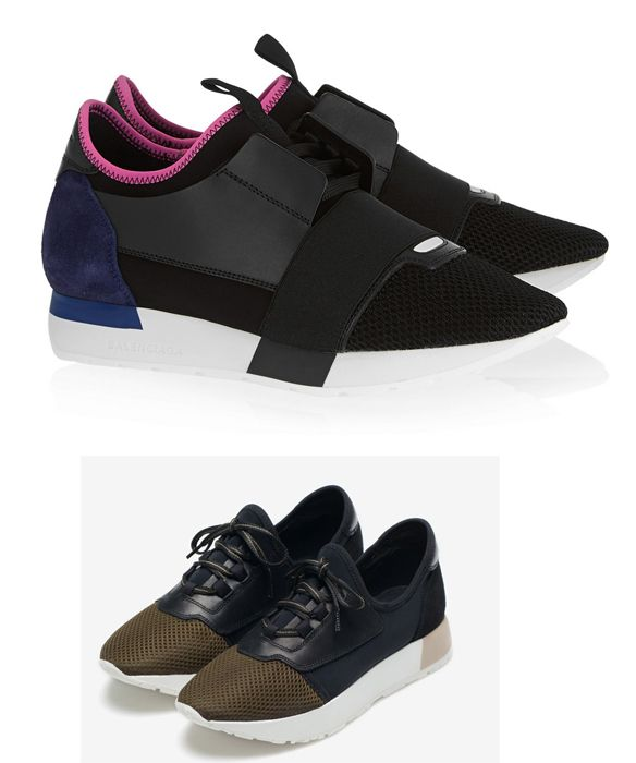How do you feel about Zara's siter brand Uterqüe knockoff of  Balenciaga's suede and leather paneled mesh and neoprene sneakers?