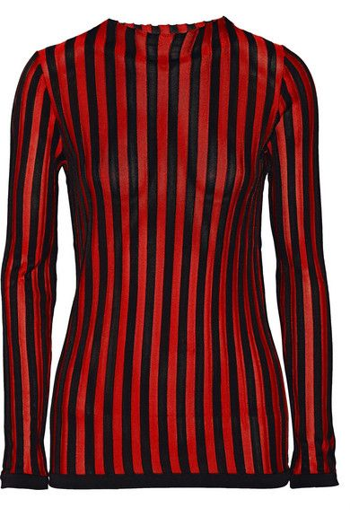 Balmain Pre-Fall 2015 black and red striped stretch-knit top available at NET-A-PORTER