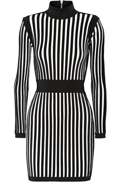Balmain black and white striped stretch knit mini dress available at NET-A-PORTER