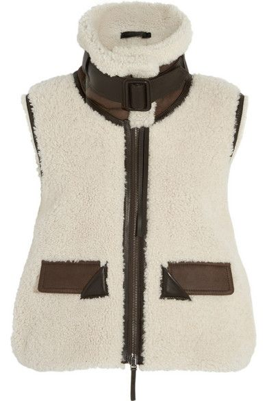 Leather-trimmed shearling vest available at NET-A-PORTER