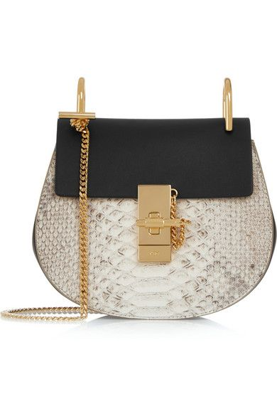 Chloé Drew mini python and leather shoulder bag available at NET-A-PORTER