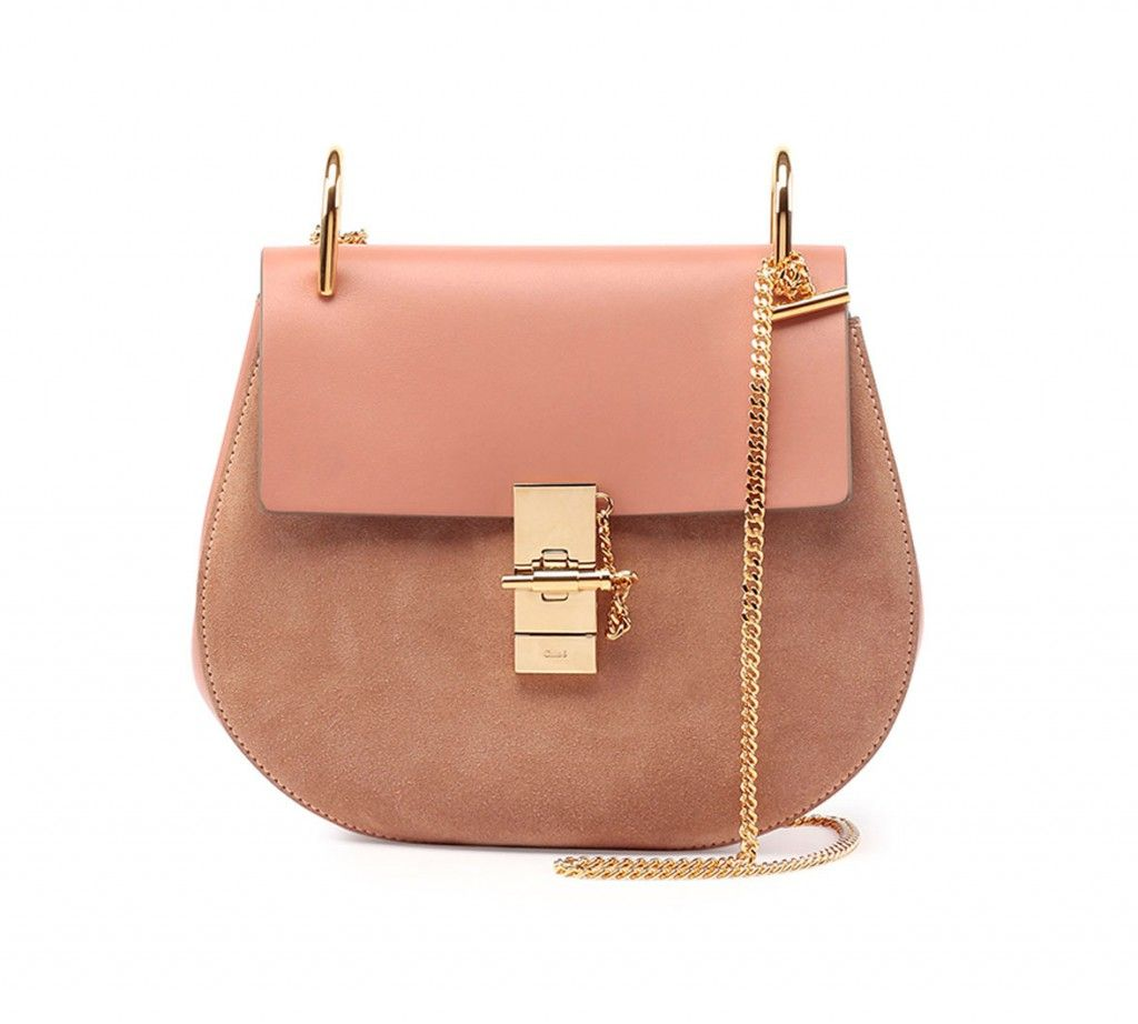 Chloé Drew rose leather and suede shoulder bag available at NEIMAN MARCUS