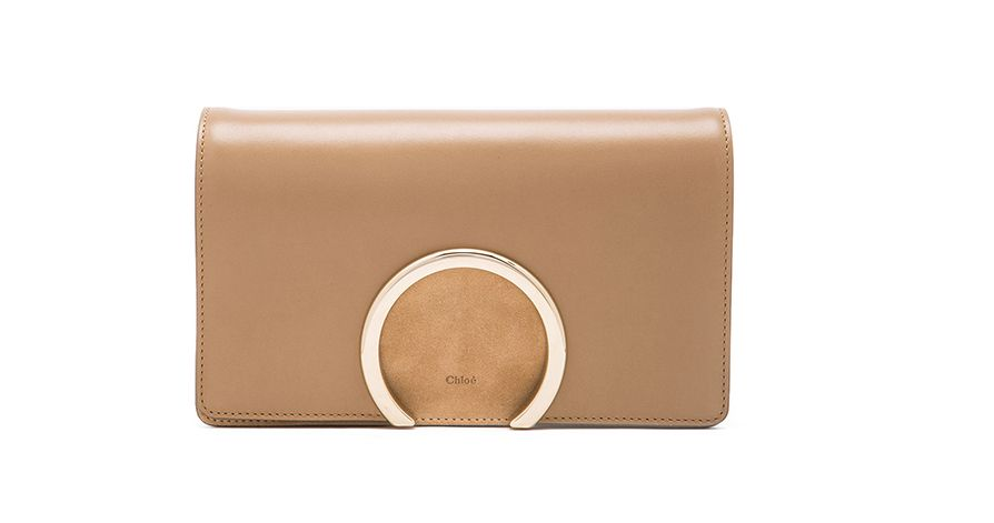Chloé Gabrielle cream chestnut lambskin and suede cluch available at FORWARD BY ELISE WALKER