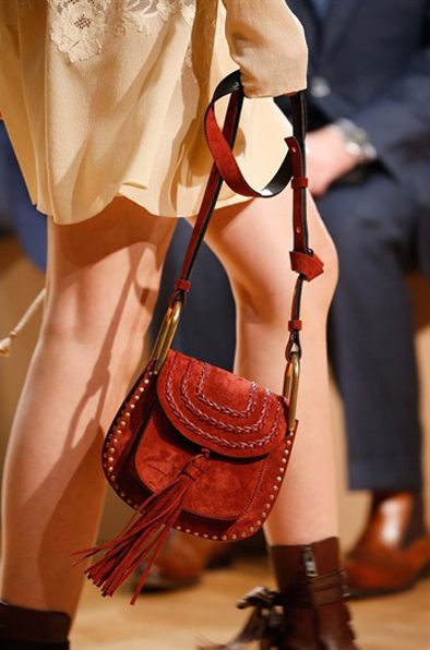 Chloé Hudson mini red suede braided bag available at LUISAVIAROMA.com