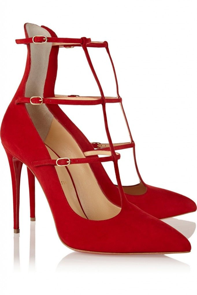 christian-louboutin-red-suede-strappy-pumps