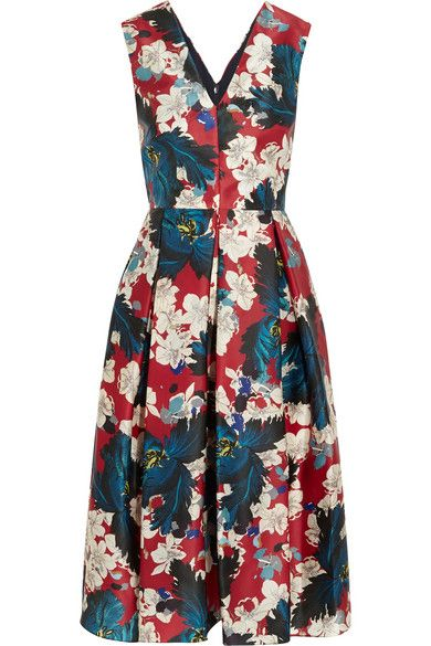 Erdem cream and cobalt-blue flowers printed silk-gazar dress available at NET-A-PORTER