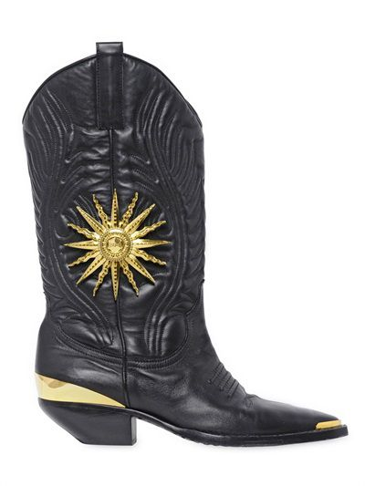 Fusto Puglisi embossed leather cowboy boots available at LUISAVIAROM.com