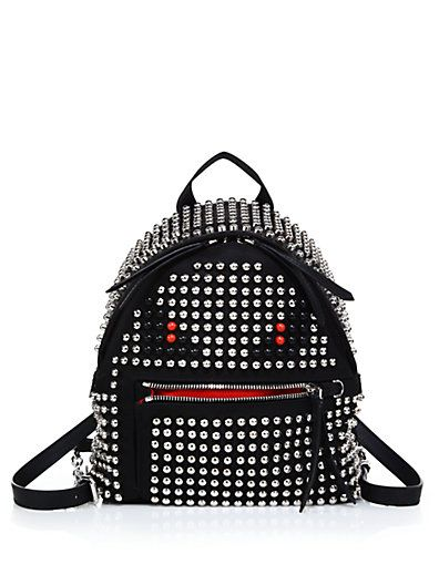 Khloe's Fendi Monster mini studded backpack is available at SAKS