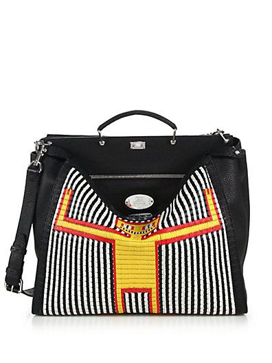 Fendi straw monster man Peekaboo bag available at SAKS