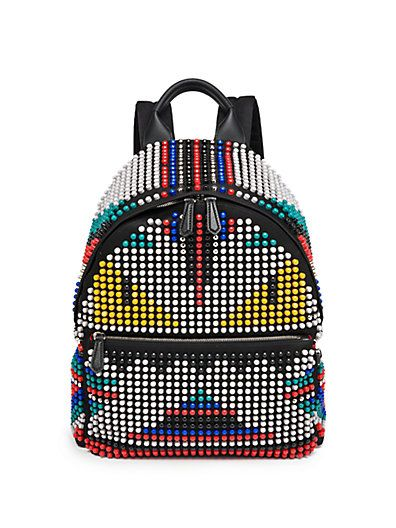 Say whaaat? Fendi Zaino nylon studded backpack available at