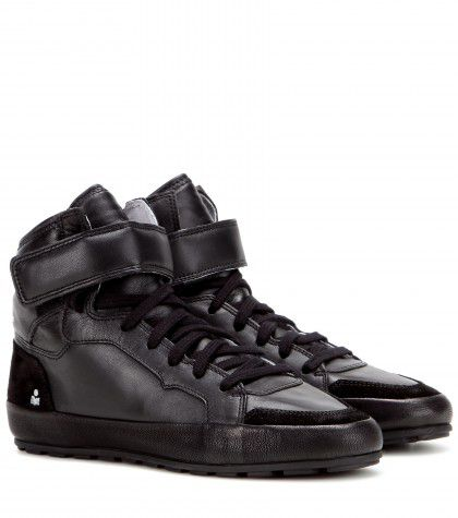 Isabel marant Bessy black smooth leather and soft suede sneakers available at MYTHERESA.com