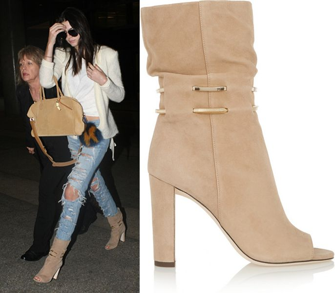 Kendall's chain trimmed beige suede boots by jimmy choo are available at NET-A-PORTER