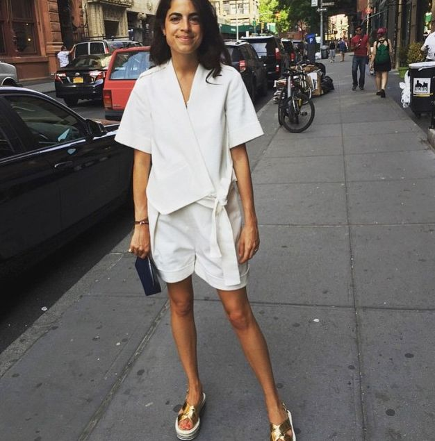Leandra Medine's Self-Portrait wrap-style cotton top is available at SELFRIDGES.com