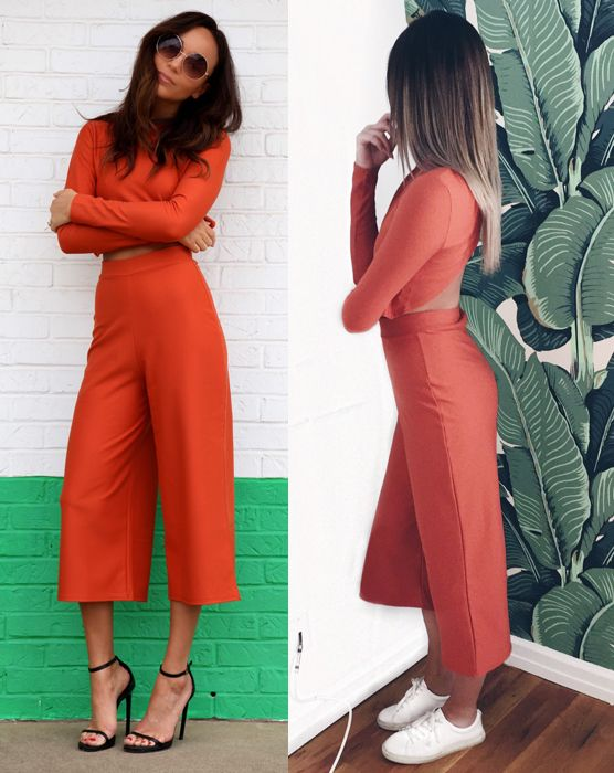 Ashley Madekwe of Ring my Bell and Danielle Bernsteinof We Wore What wearing Missguided high waisted culottes available at MISSGUIDED.com